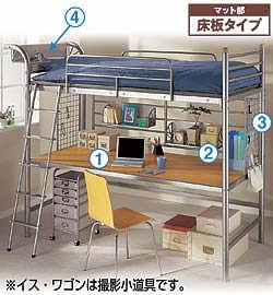 2段ベッド 机付き 階段 ロフトベッド